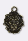 10x8mm Antiqued Brass Plated Lion Head Charms x1