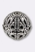 12mm Antiqued Silver Plated Filigree Round Beads x4