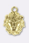 10x8mm Gold Plated Lion Head Charms x1