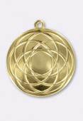 25mm Gold Plated Rosace Pendant x1