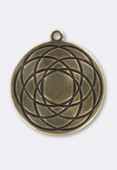 25mm Antiqued Brass Plated Rosace Pendant x1