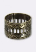 13mm Antiqued Brass Plated Adjustable Dorique Ring x1