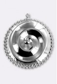 32mm Silver Plated Spiral Pendant x1