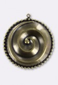 32mm Antiqued Brass Plated Spiral Pendant x1