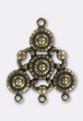 30x25mm Antiqued Brass Plated Chandelier Stamping Pendant x1