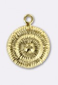 13mm Gold Plated Cord Pendant x1
