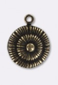 13mm Antiqued Brass Plated Cord Pendant x1
