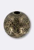 8 mm Antiqued Brass Stardust Round Beads x2