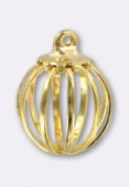11 mm Gold Plated Cage Bead W /1 Ring x1