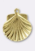 15 mm Gold Plated Scallop Shell Stamping x1