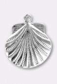 15 mm Silver Plated Scallop Shell Stamping x1