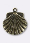 15 mm Antiqued Brass Plated Scallop Shell Stamping x1
