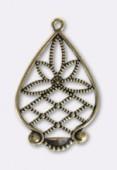 Estampe pendentif lotus 35x24mm bronze x1