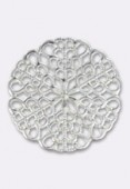 25mm Silver Plated Round Filigree Stamping x1