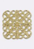 35x35mm Gold Plated Square Filigree Stamping x1