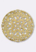 45mm Gold Plated Round Filigree Stamping  x1