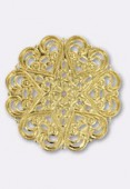 Pendentif en métal cœurs 44 mm or x1