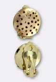 17mm Gold Plated Ear Clip Earring Base Round Blanks Multi Holes Disc Findings x2